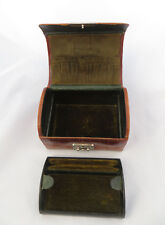 SMALL DOMED BROWN MOCK CROC LEATHER EFFECT TRAVEL? JEWELLERY / RING BOX NO KEY