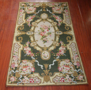 3' X 5' So Stunning Needlepoint Rug Rose Floral Green Beige Ribbon #37