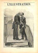 L'accolade entre Tsar Nicolas II de Russie et président Félix Faure GRAVURE 1897