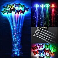 2/10*Colorful Chang Fiber Optic Sparkle Glow LED Extension Hair Clip Party Light