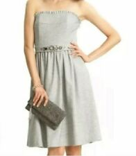 Banana Republic Wool Gray Fit&Flare Beaded Strapless Dress Size 6
