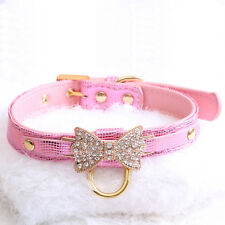 f0667f227d13 Jeweled Bow PU Dog Collar Leather crystals Cat Adjustable Hook with free  bell