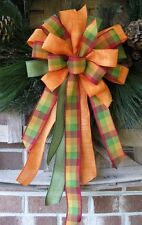 FALL BURLAP CHECK WIRED BOW GRAPEVINE DOOR WREATH, GARLAND, LANTERN # 13 tf