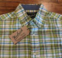 Woolrich Mens Timberline Green Plaid Short Sleeve Button Front Shirt Size Small