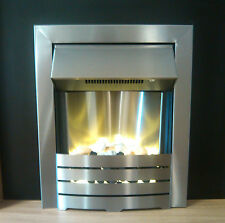SILVER STEEL  ELECTRIC WALL INSET FIRE 2KW PEBBLE BED - FIREPLACE SUITE INSERT