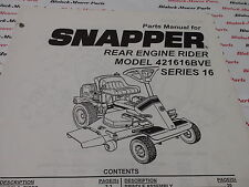 06102 Snapper 421616BVE Series 16 Rear engine Rider Parts Manual