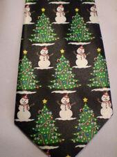 """Parquet Selini Black White Snowmen Christmas Tie 58"""""""
