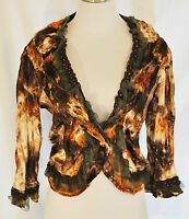 VTG BOHO Chic Brown Lace Sequin Beaded Cropped Layering Blazer Jacket L