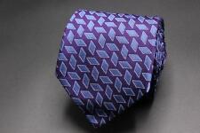 HOLLAND & SHERRY Silk Tie. Purple with Blue Geometric.