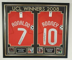 Wayne Rooney and Cristiano Ronaldo Signed Shirt s Autographed Jersey Display