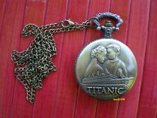 "🕑 RMS Titanic Pocket Watch ""Rose & Jack"" with pendant Chain"