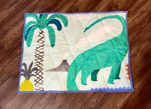 Anthropologie Standard Kids Sham Dinasour Mixed Print Green Quilted1 Single NWT