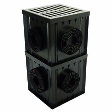 Hofablauf 30x30x60cm mit Aufsatzkasten Hofsinkkasten A15 PVC Grau