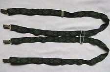 Braces Suspenders Mens Vintage CLIP ON 1970s SKINHEAD SKA GREEN DIAMONDS