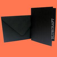 100 sets x A6 C6 Posh Black Card Blanks and Envelopes