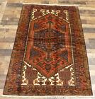 "4'x6'6"" Authentic Handmade wool Oriental Geometric Caucasian area rug Vintage"