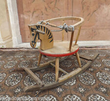 Cavallo in legno con seggiolino a dondolo '900 giocattolo d'epoca
