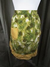 Vintage 50s Pinny Pinafore Pocket Apron Green Floral French Maid Style
