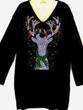 PLUS 3X Black Christmas Light Reindeer Rhinestone Hand Embellished Top Shirt