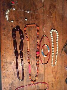 Lot 8 Colliers Bracelets Bakelite Argent Verre Vintage Bague Art Deco