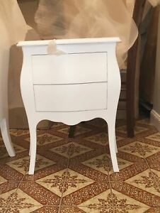 Bedside Table Rounded, White Matt