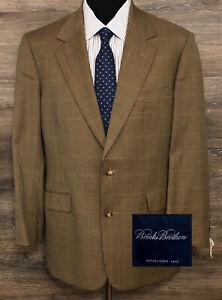 NWT Brooks Brothers Men Wool Brown Houndstooth Plaid Blazer SportCoat Jacket 40R