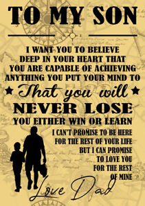 """METAL SIGN QUOTE """"TO MY SON"""" GIFT BIRTHDAY PRESENT MAN CAVE INSPIRATIONAL GIFT"""