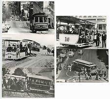 USA SAN FRANCISCO CABLE CARS 5 PHOTOGRAPHS 1880-1940s