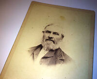 Antique Victorian Old Man W/ Great White Beard! Salem, New York! Cabinet Photo!