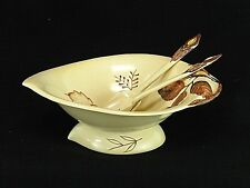 Vintage Hand Painted Carlton Ware Australian Design Footed Salad Bowl & Tongs