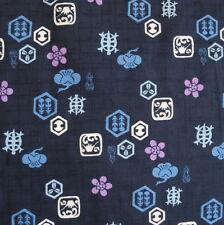 Japanese Cotton Fabric Fat Quarter Cut Piece Turtle Flower Navy 48x55cm z17