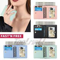Bifold Women ID Credit Card Holder Wallet Premium Leather Pocket Case 11x10cm