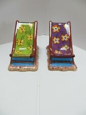 Decorative Beach Chair Salt And Pepper Shakers Ceramic Clay Art Dishwasher Safe