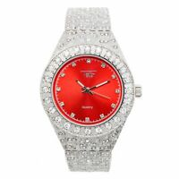Men Fully Iced Watch Bling Rapper Simulate Diamond Silver RED Hip Luxury Nugget