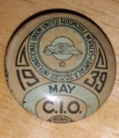 Rare! 1939 Vintage CIO UAW United Auto Workers Union Pin Bastian Bros U3