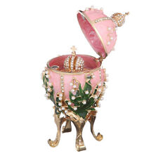 Faberge Egg Trinket Jewel Box Russian Emperor's Crown & Flowers 4.7'' 12cm pink
