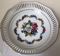 Western Germany Schwarzenhammer Bavaria Reticulated Gold Trim Floral Bowl Dish