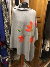 Cashmere poncho with combed wool application, handmade, polish art design