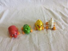Lot Of 4 Vintage Plastic Push Toy Farm Animals On Wheels Guc