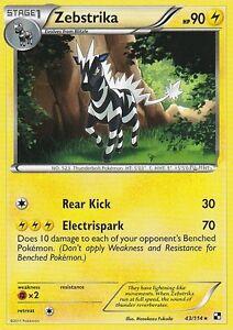 BLACK AND WHITE POKEMON RARE CARD - ZEBESTRIKA 43/144