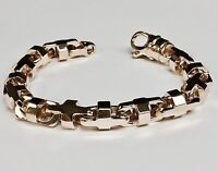 """14k Solid Rose Gold Anchor Mariner Bullet Link Bracelet 10.5 MM 85 grams  9"""""""