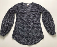 Cabi Sz XS Blue White Te Amo Long Sleeve Blouse Top 5336 All Over Print Tunic