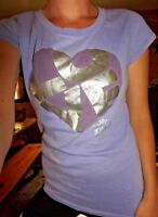 Victoria's Secret PINK medium shirt short sleeve lilac purple heart foil