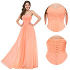 Orange Strapless Formal Evening Gown Wedding Party Bridesmaid Long Prom Dresses