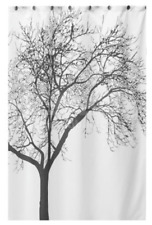 Waterproof Shower Curtain - Modern Black & White Tree Design - 70 inches x 70 in