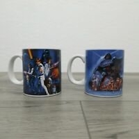 Pair 2 Star Wars 12oz Vandor Ceramic Mug White Skywalker Vader Leia Solo Kenobi