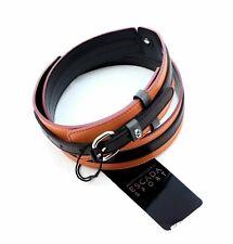 "ESCADA 1.5"" Logo Leather BELT SILVER Tone Buckle sz 90/34 Italy New $275"