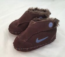 Nike Brown Moccasin Booties Soft Baby Slippers Hook and Loop Size 3c