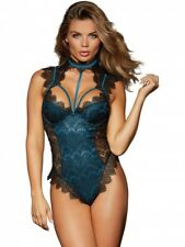 Dreamgirl Black Teal Teddy Body Lace Overlay Sexy Ladies Lingerie Underwear New