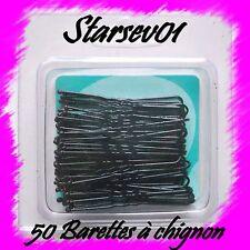 50 BARETTES PINCES CHEVEUX POUR CHIGNON NOIRES ONDULEES 5 CM